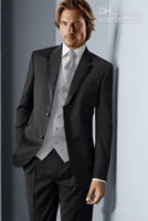 Men Pant Suit Formal Custom Design Black Groom Tuxedos Notch Lapel Groomsmen Men Wedding Suits(Jacket+Pants+Tie+Vest)H489