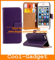 Leather For Apple iPhone for iPhone 5 5G iPhone5 Wallet Credit Card Flip Stand Genuine Leather Case Cover for iPhone 5 5G iPhone5 iPhone 5S iPhone5S IP5C49