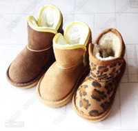 Wholesale Fashion Leopard Print Shoes Children Casual Shoes Boy And Girl Snow Boots Child Winter Boots Warm Shoes Childrens Footwear Kids Fur Boots cv