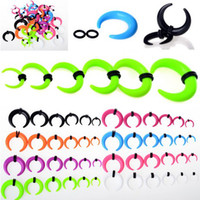 Wholesale 24pcs Fashion Punk Semilune Acrylic Ear Plugs Expander Ear Stretcher Piercing Jewelry mm Jewelry BC101