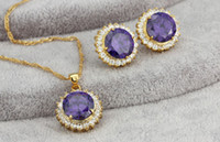 Wholesale JewelOra JS100320 costume jewelry gift sets purple crystal Gold Plated necklaces and earrings Lady Jewelry Set