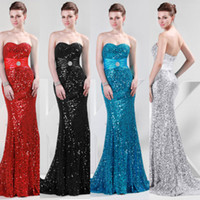 Wholesale Grace Karin New Arrival Shining Sequins Sweetheart Long Sheath Evening Prom Gowns Sexy Pageant Dresses CL4409