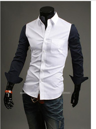 Wholesale Men s long sleeved shirt trade hit color stitching design men s casual shirts