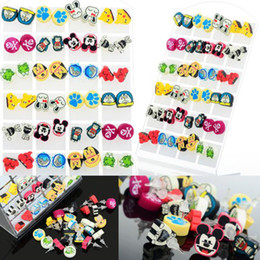 Wholesale Jewelry Lovely Children Lady Earring Polymer Clay Mix Colors Animal Design pairs Stud Earring JE03017