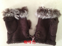 Wholesale Zhang Ziyi perfect fur half finger gloves children gloves winter gloves warm gloves