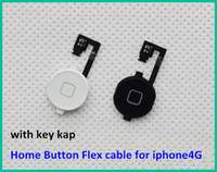Wholesale 100pcs New Home Menu Button Flex Cable Key Cap Assembly for Apple iPhone GSM CDMA White Black Color High Quality Free DHL