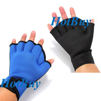 Wholesale New Fingerless Surfing Frog Webbed Gloves Swim Hand AID Paddles Training Swimming
