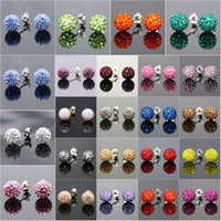 Women's shamballa earrings - Genuine Crystal Disco Ball Lady s925 Silver Shamballa Stud K Earring mm