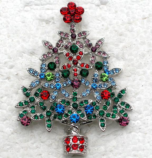 12 шт./лот Оптовая красочные Кристалл горный хрусталь Рождественская елка Pin брошь