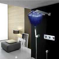 Wholesale 12 quot LED Shower head Arm Hand Spray Valve Spout Shower Faucet Set DH