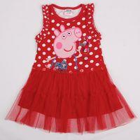 Wholesale H4416 Red white Nova new products m y baby girls cupcake dresses kids cartoon clothing peppa pig mesh ruffle polka dot tank top dress