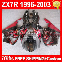 7gifts For KAWASAKI Custom body 96- 03 red black NINJA ZX- 7R ...