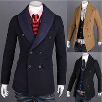 Men wool fabric coat - 2013 new monde South Korea Double breasted Men s Slim Trench Coat Knitted fabric Collar men s coat navy