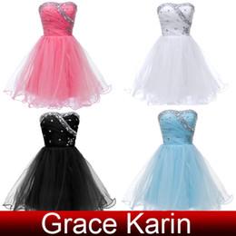 ¡Grace Karin 4 colores !! Vestido de bola hecho a mano rebordeó el mini regreso al hogar corto viste el vestido de coctel del vestido de bola Voile CL4503