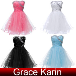 Wholesale Grace Karin Colors Handmade Beaded Strapless Mini Short Homecoming Dresses Ball Gown Cocktail Dress Voile CL4503