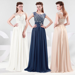 Wholesale Sexy Transparent Appliques Scoop Prom Dresses Empire Floor Length Chiffon Evening Party Gown CL4473