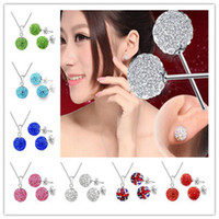 Wholesale Genuine Crystal Lady Girls SILVER Sets Necklace Earring Shamballa Sets