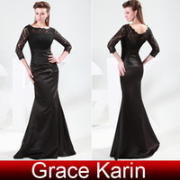 Wholesale Grace Karin New Sexy Scoop Neckline Long Sleeve Satin Lace Evening Dresses Sleeve Size US2 CL4524