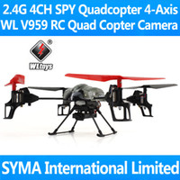 Wholesale WL V959 with Camera SPY Cam Camera G CH RC Quadcopter Quadricopter Axis GYRO Remote Control Helicopter Quad Copter UFO VS Ar Drone