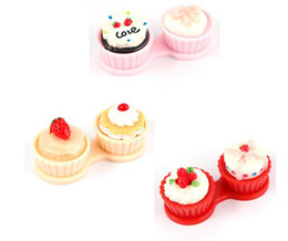 Wholesale Brand NEW Lovely Cartoon Cream Cake Style Contact Lenses Case Lens Companion Boxes