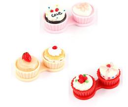 Wholesale Brand NEW Lovely Cartoon Cream Cake Style Contact Lenses Case Lens Companion Boxes