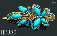butterfly hair clip - hot sell Vintage Hair Jewelry alloy rhinestone Butterfly hair clip Hair Accessories Mixed colors HP380