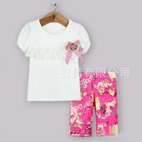 Girl Summer 100% Cotton Girl Suit Outfits Children Set Kids Clothes Princess Two-Piece Short Sleeve Lace T Shirt Summer Cute Flower Shorts Baby Suit Child Clothing