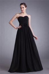Elegant Sheath Sweetheart Sleeveless Floor Length Black Chiffon Formal Bridesmaid Evening Prom Dresses Custom Size 2 4 6 8 10 12 14 16