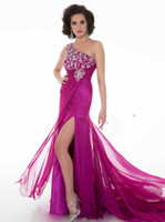 Reference Images One-Shoulder Chiffon Dazzling Pleated One Shoulder Beaded Corset Bodice Floor Length Side Slit Sheath Column Can Be Customized Fast Delivery Chiffon Prom Gowns