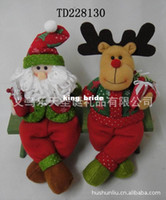 Wholesale Red and green color fabric Christmas gifts Santa Claus snowman elk wooden chair