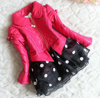 Wholesale Girls Cute Polka Dot Lace Jackets Kids Clothing Children Outwear Winter Coats Casual Jacket Princess Coat Girl Clothes Kids Leather Jackets4