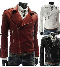 Wholesale 2013 new men s leather Personalized multi zipper jacket men s leather large lapel short paragraph
