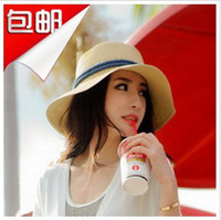 Wholesale Flat brim beach sun hat summer women s strawhat fedoras