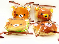 Lanyard squishies - New cm Kawaii Rilakkuma Phone Chain Lanyard Squishies Bun Bag Charm Cartoon Rare Squishy Bread Cell Phone Straps