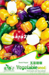 Wholesale 5 Pack Seeds Color Yellow Puple Red Green White Mix Sweet Bell Pepper Seeds C024