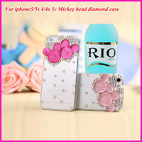 Wholesale Cute Mickey Shape Bling Diamond Cell Phone Clear Case Pearl Rhinestone Transparent Hard Back Protective Phone Cover For iPhone s s c