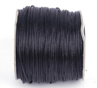 Wholesale 1 mm m Chinese Knotting Crystal Cord Elastic Black Macrame Wire String Shambhala Bracelet DIY NF3