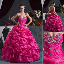 Wholesale 2015 New Quinceanera Dress Actual Image Rose Red Ball Gown Sweetheart Beads Sequin Ruffle Sweep Train Sweety Buy One Get Petticoat