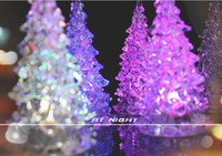 Wholesale A07 Colorful changing color acrylic crystal flashing Christmas tree creative gifts CM Christmas trees night lights