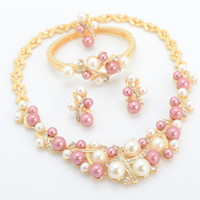 Wholesale Fashion Pink Pearls Costume Jewelry Ladies Artificial Pearl Necklace Set New Product A062