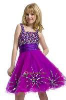 Spaghetti Beads Organza Spaghetti sequins diamond satin soft tulle knee length party formal evening flower girls pageant dresses ball gowns perfect angels pre-teen