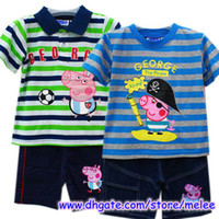 Wholesale Big Discount Peppa Pig amp George Pig Boys Summer pc sets Green Blue Striped Tops T Shirt Cute Pants T pc sets pc tops pc pants