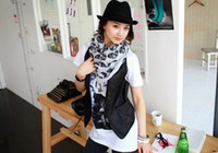 VA-0007 scarf 160*50cm 3 Colors Cotton Skull Head Scarf Pashmina Skeleton Wrap Shawl 160*50cm VA-0007