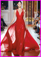 Wholesale New Designer Red V neck Sheath Sequins Fabric zuhair murad Sexy Prom Pageant dresses Floor Length Crystals Beads Formal Evening Dress Gowns