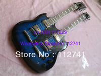 Solid Body 12 Strings Mahogany Wholesale - blue Classic Double Neck 1275 Custom Electric Guitar 6 strings and 12 strings Free Shipping