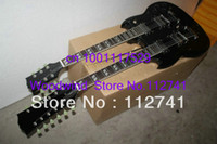 Solid Body 12 Strings Mahogany Custom Shop 1275 Double Neck Electric Guitar 6 12 strings Electric Guitar black double neck guitars High Quality Free Shipping