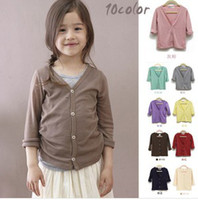 Wholesale 10 Candy Colors Children Girls Autumn Knitted Outwears Multicolored Cotton Softy Casual Cardigans Kids Jersey Plain Coats B1905