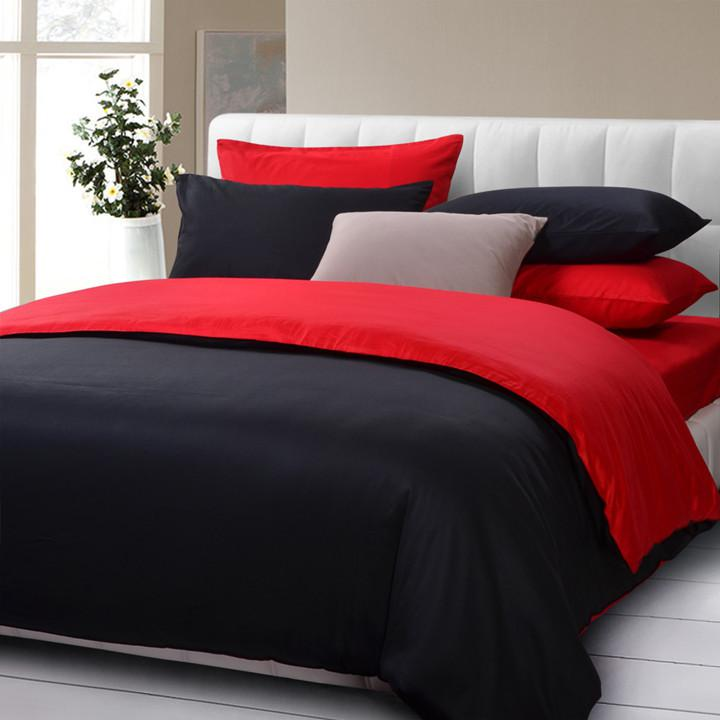 Modern Design Solid Color Black And Red Queen King Size