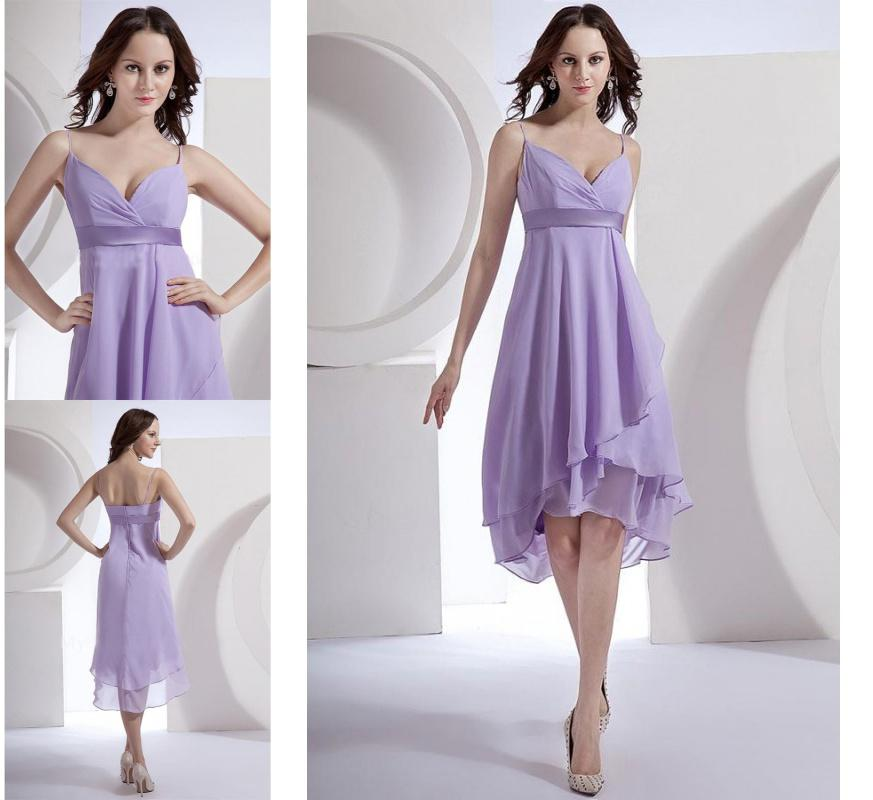 Hi lo straps simple style strapless pleated chiffon light for Hi lo dress wedding guest