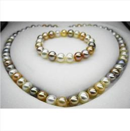 Fine Pearls Jewelry 18inches 8-10mm South Sea NATURAL Multicolor pearl necklace bracelet set